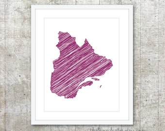 Quebec Province Art Print - Custom Canadian Province Poster - Purple Violet - Modern Minimalist Wall Art