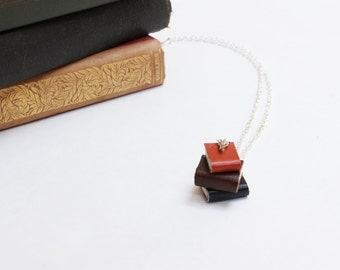 Leather Pile of Books Necklace - Miniature Autumnal Tone Leather Book Jewellery - OOAK - Tiny Colourful Book Stack