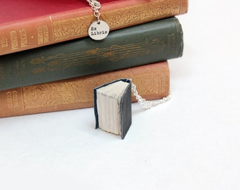 Book Necklace - Small Upcycled Handcrafted Small Leather Book Jewellery - OOAK Dark Charcoal (nearly black) Leather Bound Miniature