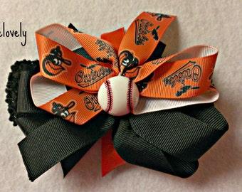 Baltimore Orioles Baby Girl Boutique Bow Crocheted Headband