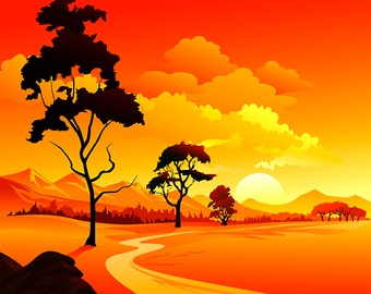 Landscape Illustration and Artwork, Orange Scenery Artwork, Landscape Scenery, Beautiful Artwork, Large Wall Decals, Wall Art, Wall Mural