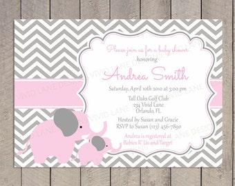 Pink Elephants Baby Shower Invitation - Girl Baby Shower, Pink and Grey Elephants, Baby Girl Shower, Chevron, Blue, Purple, Yellow - 030