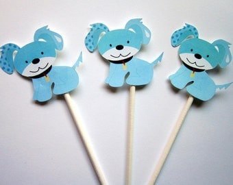Puppy Party Cupcake Toppers - Blue Puppy