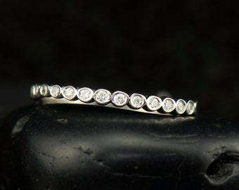 Petite Cadence - 1/2 Eternity Diamond Wedding Band in White Gold, Round Brilliant Cut Bezel Set Diamonds, Stackable, Push Gift