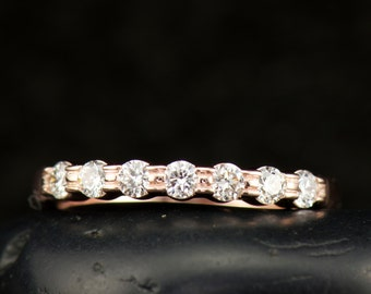 Kendall - Diamond Wedding Band in Rose Gold, Round Brilliant Cut Diamonds, Triple Bar Setting, Unique Design, Stacking Ring, Free Shipping