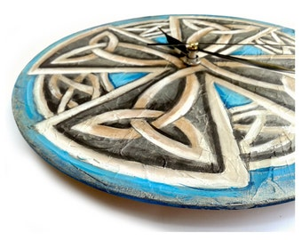 Original Painting CELTIC Eternal Knot Wall CLOCK Viking cross painting clock gifts for men
