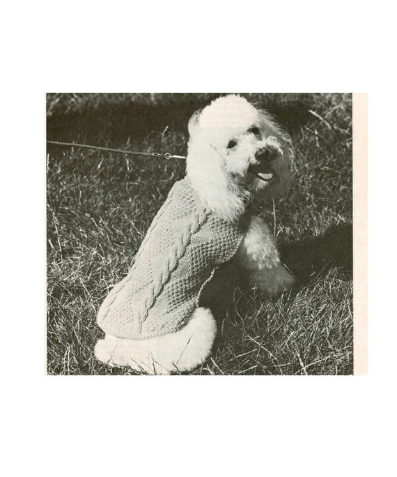 Vintage Knitting pattern to knit A Poodle Dog Coat in Cable.