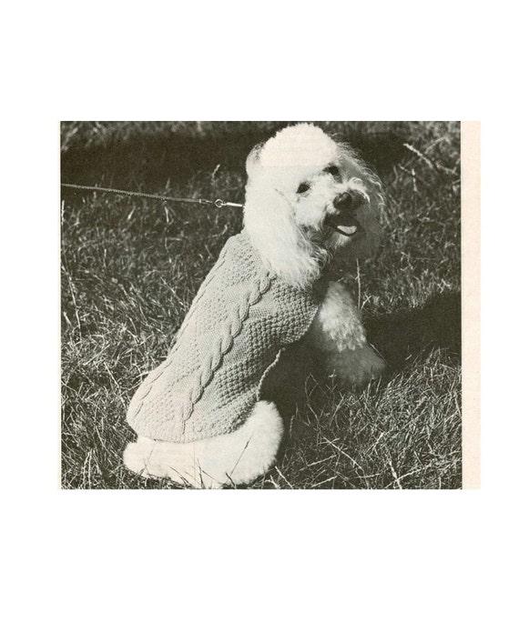 Vintage Dog Coat Knitting Pattern : Vintage Knitting pattern to knit A Poodle Dog Coat in Cable.