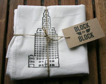 WHITE NYC Architecture Recycled Flour Sack Tea Towel of Master Building in Manhattan
