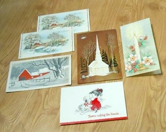 Vintage Snowy Scenes, Winter Landscape, Churches & Angel with Dog Christmas Greeting Cards Set of 6 cards