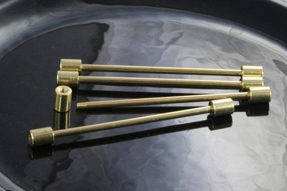 4 pcs 6 mm head  3 mm bar, 70 mm inner lenght raw brass barbell,  raw brass pendant, finding industrial design,finding bb3-70