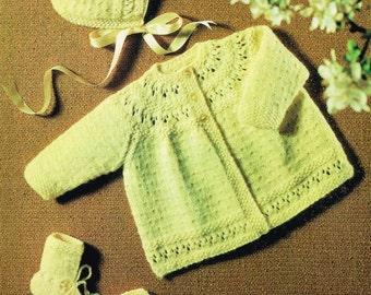 vintage baby matinee coat and bonnet  vintage knitting pattern PDF instant download