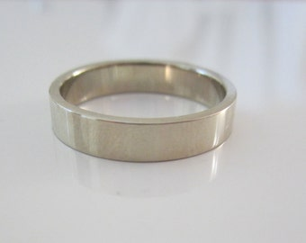 Eco Friendly Men's Wedding Band| 14K Recycled White Gold| Wide Band|Ethical