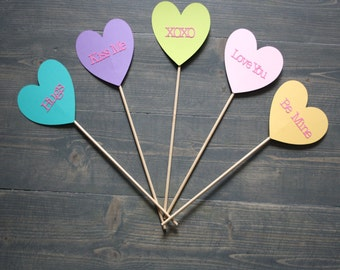 PhotoBooth Props - Set of 5 Valentines Day Conversation Hearts