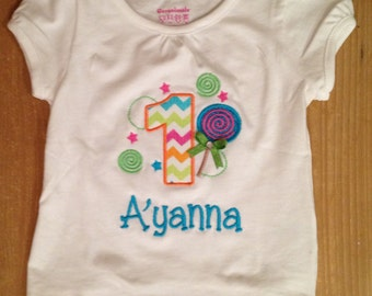 Candy Shop Lollipop Birthday Embroidered Shirt or Baby Bodysuit