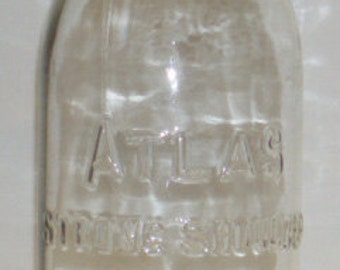Vintage Atlas Strong Shoulder Mason LG Round  9 Clear Glass Canning Jar