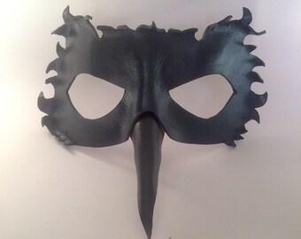 Leather Raven Mask Black Mask Bird Mask