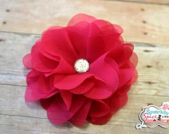 Hot Pink Chiffon Flower Clip, Shocking Pink Flower Fascinator Hair accessory