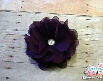 Purple Chiffon Flower Clip, Dark Purple Flower Fascinator Hair accessory