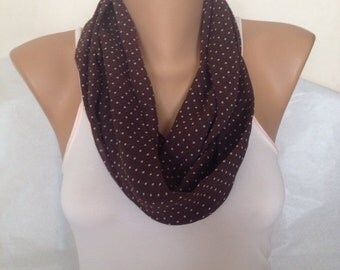 ON SALE - Polka Dot Scarf - Infinity Scarf -  Brown Loop Scarf - Tube Scarf -  Eternity Scarf - Gift Scarf Under 10