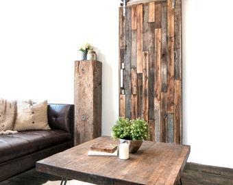 Custom Built Vertical Reclaimed Wood Sliding Door
