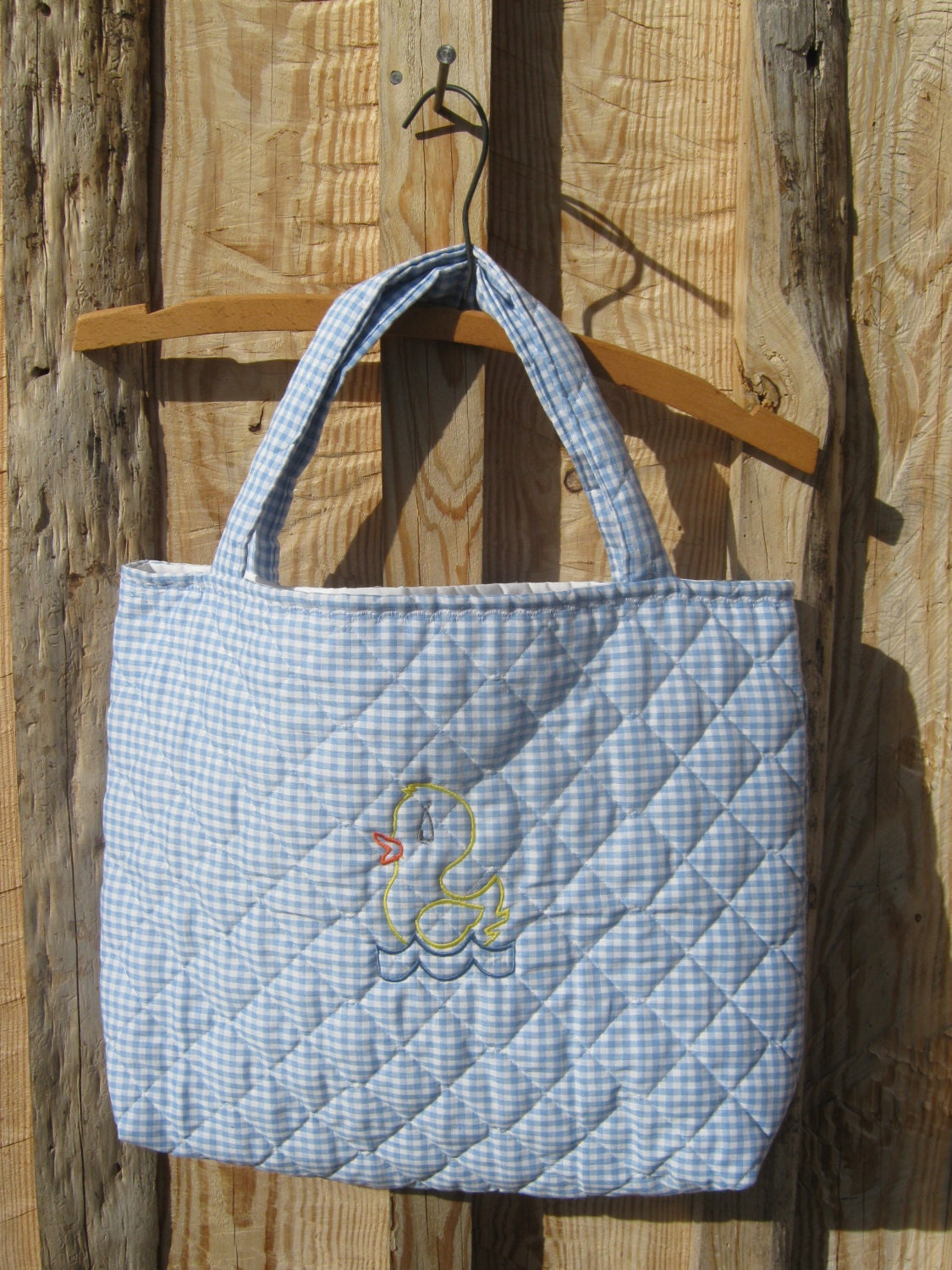 Blue Quilted Gingham Diaper Bag For Baby Boy Personalized