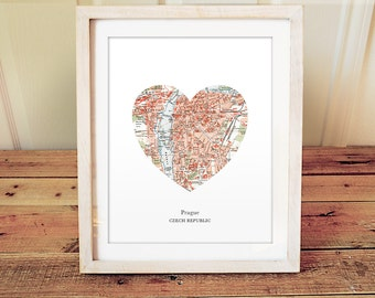Prague Heart Print, Czech Map Print, Heart Map Print, Choose any hometown, Custom Valentines Gift, Valentines Day Print