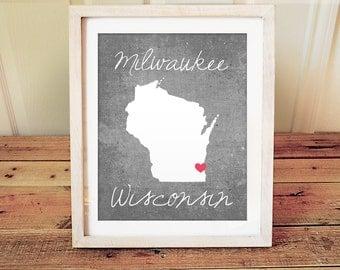 Milwaukee Wisconsin State Art Print - Wisconsin Art - Milwaukee Gift - State Print
