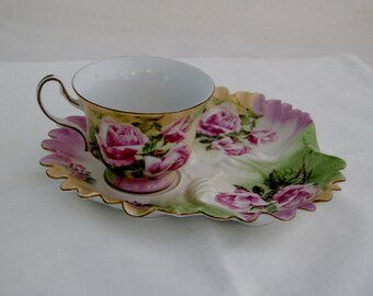 SALE!!!  Vintage Hand Painted Tea Cup and plate  - Beautiful Victoran Rose design - Marked with an H