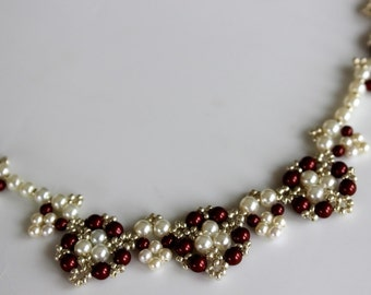 PDF tutorial Beaded Berry Necklace_ Swarovski pearl_seed bead_ beadweaving_колье из жемчуга и бисера