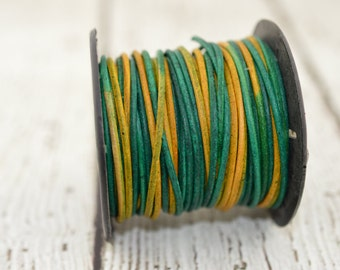 GYPSY BEROL Round Leather Cord 2mm Cording 12 Feet Green Yellow Great Leather Wrap Cords Gypsy Dyed