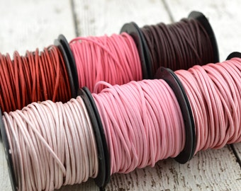 PINK LEATHER CORD, 2mm Round Leather Cording 12 Feet Great for Leather Wraps, Choose from Granada Burgundy, Pinks or Reds