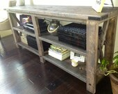 Rustic X Distressed Handmade Console / Media Table - Custom Listing to be added to Registry
