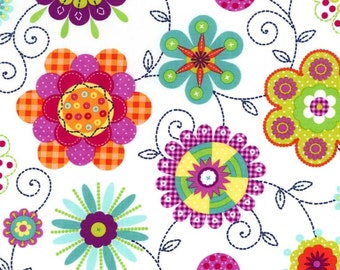 White Peppy Petals, Contemporary Florals, from Michael Miller Fabrics