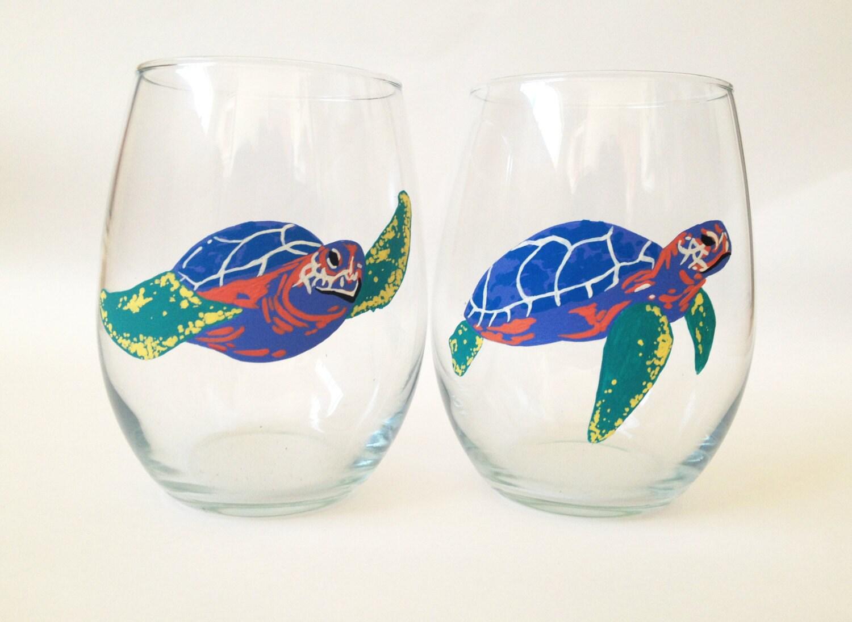 Hand painted stemless wine glasses sea turtles by jaylalas for Painted stemless wine glasses