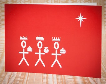 Three Kings Christmas Card - Imperial Red
