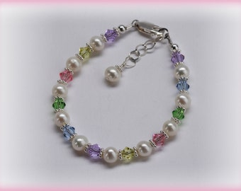 Girls Sterling Silver Bracelet with Freshwater Pearls and Swarovski Crystals Comes in Gift Box for Girls (007)