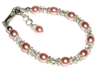 Sterling Silver Pink Pearl Bracelet for Girls with Crystals and Birthday Gift for Girls Comes in Gift Box (002)