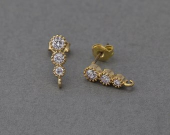 Cubic Post Earring . Wedding Earring . 925 Sterling Silver Post . 16K Polished Gold Plated over Brass  / 2 Pcs - BC063-PG-CR
