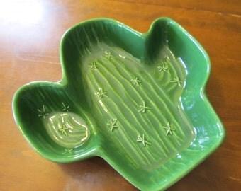 Large Green Ceramic Treasure Craft Saguaro Serving Bowl