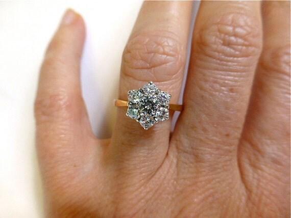 Vintage Diamond Engagement Cluster Ring 18ct Gold English