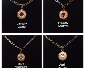 Bullet Ammo Casing Jewelry Birthstone Necklace