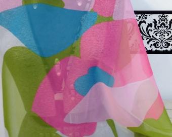 Vintage Japanese 1960's Art Deco Floral Scarf, 1960's Mod Scarf, 1960's Vintage Pink Handkerchief Japan, 60's Vintage Twiggy Mod Scarf