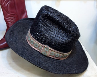 1980's Black Straw Women's Cowboy Hat by Adam, Size 7 Small / Medium, Vintage Wicker Country Western Cowgirl Hat, Aztec Black , Festival Hat