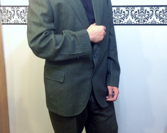 Sale! 1950's Men's Two Piece Wool Green Striped Suit by Don Richards, Big & Tall, Vintage Mad Men / Rockabilly Jacket 48 Pants 42 X 29 (32)