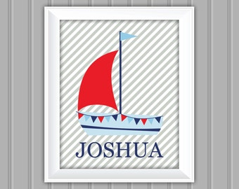 Nautical Wall Art, Sailboat Wall Art, Name Wall Art,Personalized Wall Art, Printable Wall Art, Kids Wall Art, Nursery Wall Art, DIY Wall Art