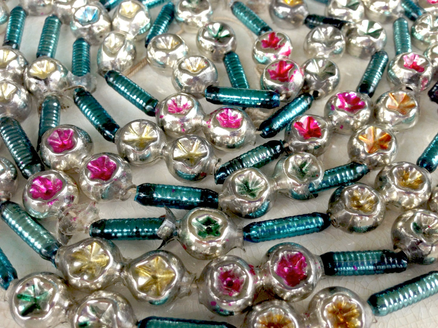 Vintage mercury glass bead garland double indent