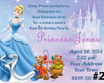 Cinderella Birthday Party Invitation  Digital File  You Print Birthday Party invite
