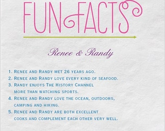 100 Trivia Personalized Beverage Napkins Couple Fun Facts  *You can have 3 Print Colors*  Match your wedding colors! Wedding Trivia