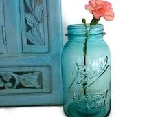 1 Quart Blue Ball Jar Perfect Mason Mold Number 8